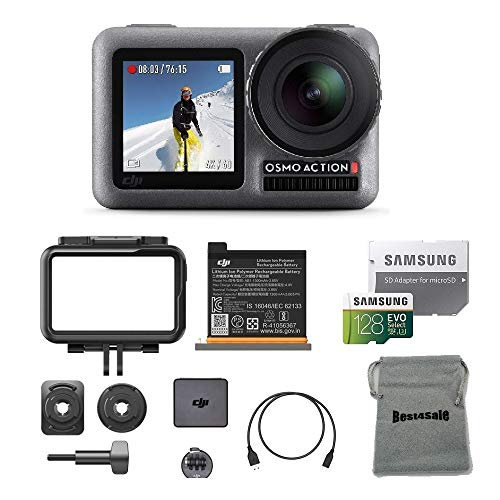 DJI Osmo Action Cam with Dual Screens 11m Waterproof Digital Camera with 128GB SD Card Supports...