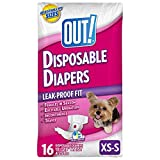 OUT! Pet Care Disposable Female Dog Diapers | Absorbent with Leak Proof Fit | XS/Small, 16 Count