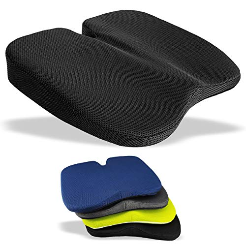 Medipaq Freedom Wedge Cushion - Great for Coccyx Relief, Lumbar Support, Back Pain in The Car or at Home (Jet Black 3-D Mesh)