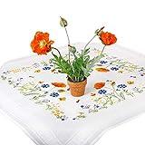 Stickpackung SOMMERWIESE, Tischdecken Set vorgezeichnet zum Sticken, Stickset mit Plattstich und...