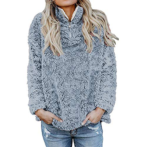 ZGRNPA Womens Fuzzy Fleece Hoodie Casual Long Sleeve 1/4 Zip Pullover Velvet Sweatshirt Outwear Top Solid Color Long Sleeve Plush with Hat Warm Cardigan Ladies Large Size Casual Loose Coat