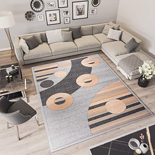 TAPISO Laila Tappeto Moderno Salotto Sala Soggiorno Camera da Letto Beige Gray Geometrico Tradizionale Pelo Corto 240 x 340 cm