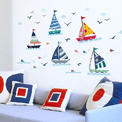 Ocean Birds Boot A Vela Nubi Decor Wall Stickers Cartoon Nave Decal Sticker voor kinderkamer venster deur glas Decor DIY