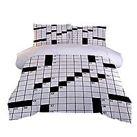 羽毛掛け布団カバーナンバーゲーム 2つの枕カバー付き3Dプリント寝具セットキルトケース子供ティーンマイクロファイバージッパークロージャー大人キッズキング-230x220cm