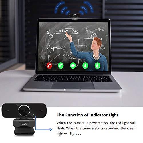 havit Webcam 1080P Cámara Web Full HD USB 2.0 con Micrófono de reducción de Ruido Incorporado, Giratorio de 360 Grado,cámara Web portátil con Soporte, para Ordenador/PC,Negro miniatura