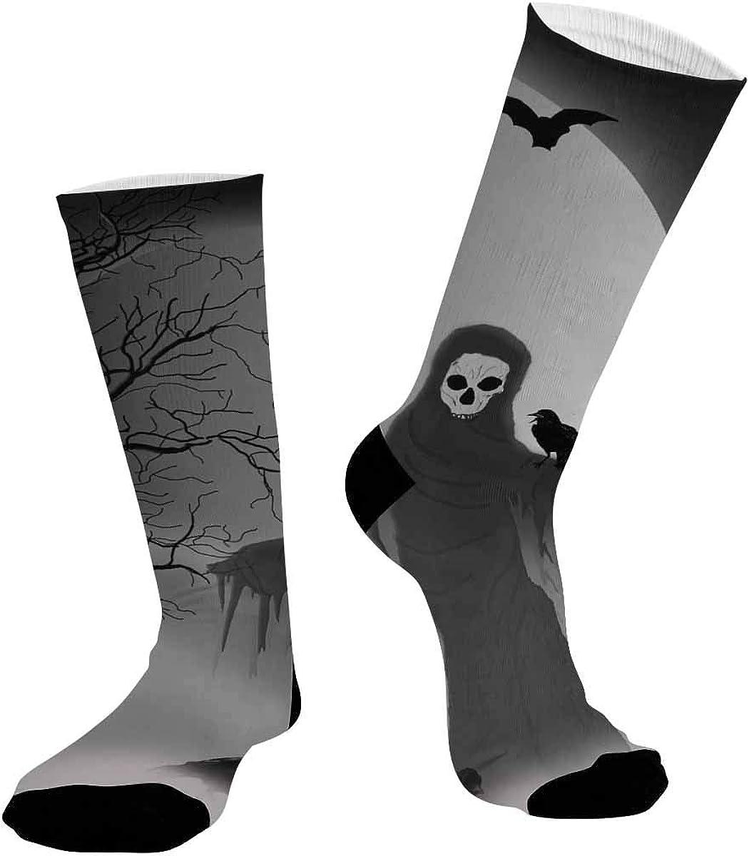 INTERESTPRINT Unisex Outdoor Sports Athletic Hiking Socks Halloween Scarecrow Kull Face