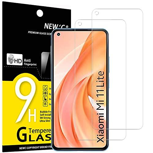 NEW'C 2 Unidades, Protector de Pantalla para Xiaomi Mi 11 Lite/Mi 11 Lite 5G, Antiarañazos, Antihuellas, Sin Burbujas, Dureza 9H, 0.33 mm Ultra Transparente, Vidrio Templado Ultra Resistente