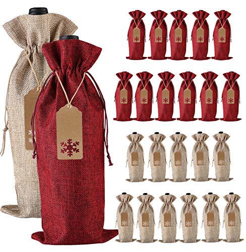 Bolsas de Regalo de Arpillera, 24 Piezas de yute con Cordón para Botellas de Vino con Etiquetas y Cuerdas para Navidad, Bodas, Viajes, Cumpleaños, Fiesta