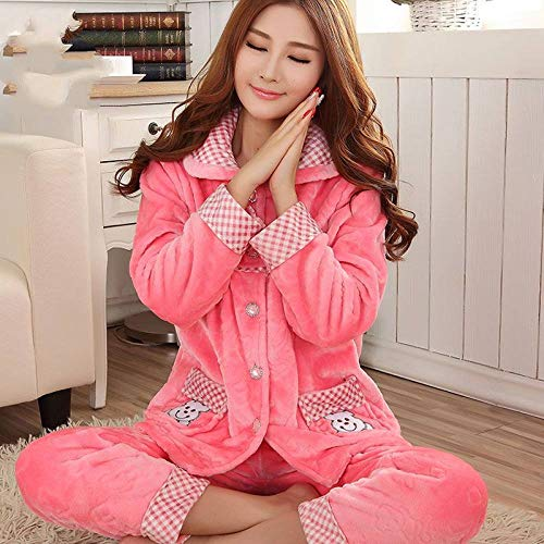 ZHRDRJB Schlafanzug Damen Pyjama Set,Winter Rosa Bär Koralle Fleece Pyjamas Set Dicker Warm Weiche Flanell Homewear Sleepwear Langarm Strickjacke Plus Größe Pyjamas Sets Frauen, XXL