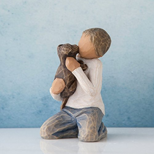 Willow Tree Kindness Boy with Puppy Figurine 27463 Darker Skin Tone and Hair by Willow Tree