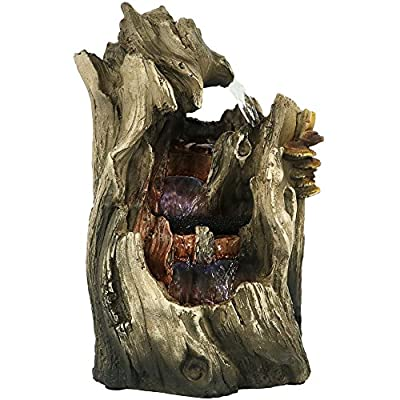 Sunnydaze Cascading Caves Waterfall Tabletop Fountain with LED Lights - Corded Electric - Home Decor Accent Piece for Office, Bedroom or Living Room - 14 Inch