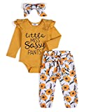 Arshiner 3 Piece Baby Girl Onesies Long Sleeve Letter Print Pant Sets with Floral Headbands for Newborn 12-18 Months