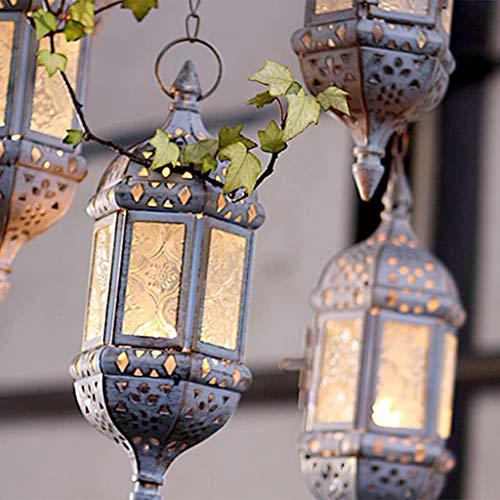 Abcidubxc Ciaoed - Portavelas, estilo retro, soporte para velas huecas, de metal y cristal, forma de farol, decoración de terrazas en casa, Metal y cristal., blanco