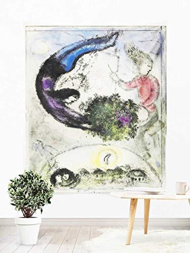 Tapiz Pared,Colcha de pícnic,Multiuso - Tapices de Pared para Decoración,paño de Pared,tapicería Salón dormitorio, Cuadros famosos Chagall caballos y payasos 150×200cm