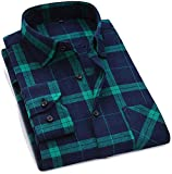 3DT Flannel Plaid Shirt Cotton Spring Autumn Casual Soft Comfort Slim Fit Shirt,Dtf32,Asian Size 6XL