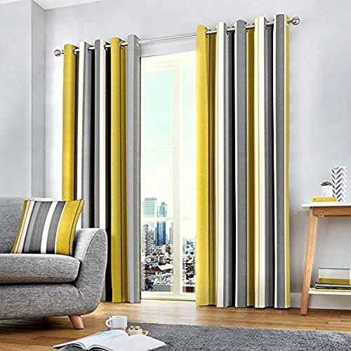 Mingwang 100% Cotton Pair of Eyelet Curtains - 46 Width x 54 Drop (117 x 137cm) in Ochre