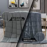 Haowaner Weighted Blanket 100% Cotton Top+ Mink Fuzzy Weighted Blanket Plush Bottom, 15lb Heavy Blanket Adult, 48'x72' Twin/Queen Anxiety Blanket for Use All-Year Round