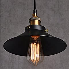 ★ E27 [1 x E27 Max 60W.] Delivery without bulbs | Voltage: 110-240V | Dimensions: Ø22cm * 13cm; Fixture plate: ø10cm | Shade material: aluminum. ★ Brass lamp holder, retro vintage look black pendant lamp shade. Available Bulb: LED bulb / energy savin...