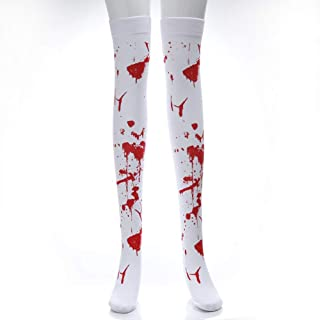 LYX Halloween Stockings Party Bloodshed Socks Masquerade Costume Props Ghost Festival Zombie Bloody Nurse Socks (Color : C...