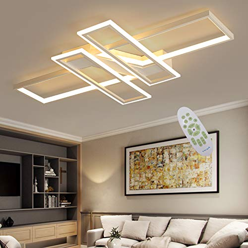 LED Deckenleuchte Modern Wohnzimmer Licht Pendelleuchte Dimmbar 94W Creative Aluminium Acryl Design Lampe Decke Fixture Beleuchtung Wohnzimmerlampe Schlafzimmer Licht Büro Deckenlampe lampen (Weiß)
