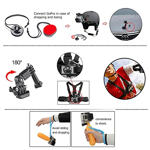Action Camera Accessories Kit for GoPro HERO6/5/4/GoPro HERO5 Session/AKASO/CROSSTOUR/APEMAN/CAMPARK/YI/XIAOMI/VIVITAR/EKEN, Action Camera Mount 4K Sports Camera Attachments