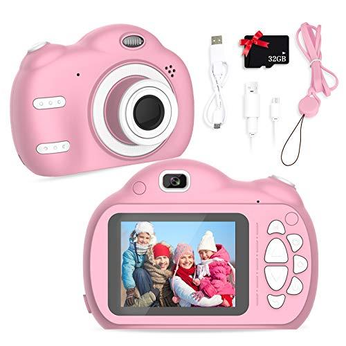 SWEET CARROT Cámara digital para niños de 2,4 pulgadas / 18 megapíxeles / lente delantera y trasera / flash, cámara de fotos de 32 G TF integrada para regalo de cumpleaños (rosa)