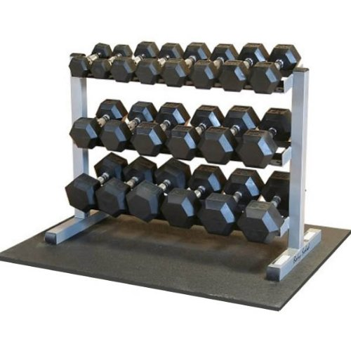 Body-Solid Dumbbell Rack with 20 Rubber Dumbbells and Mat