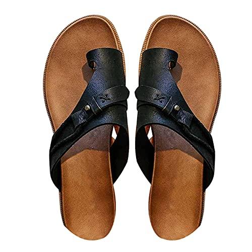 ZLYY Sandalias para Las Mujeres, Retro Comfy Premium Summer Slippers Hollow out Flip Flip Floop Beach Sandals, Plataforma de Moda para Mujer Zapatos de Punta Abierta(40,Schwarz)