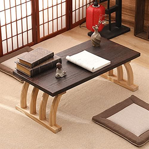 GZZG Mesa De Té Bajo Estilo Japonés Tatami Tatami Antiguo Muebles De Madera Simple Pequeña Computadora Portátil para Sala De Estar Balcón Bahía Ventana (Color : Brown)