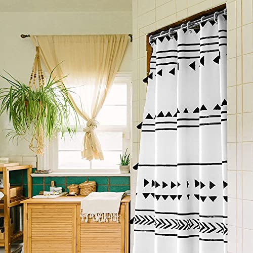 Uphome Boho Shower Curtain Black and White Fabric Shower Curtain with Hooks Chic Triangle Geometric Cloth Bathroom Curtains Set Waterproof Weighted Hem for Modern Hotel Decorative Accessories 60x72