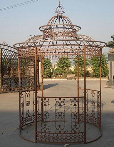 CLP Garten-Pavillon Crown, Pavillion mit Seitenwänden, rund Ø 2 Meter, Höhe 340 cm, stabiles Eisen (Metall), stilvolles Design Antik Braun