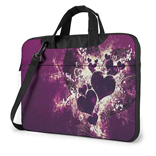 Laptop Tote Bag, Love Heart Purple Durable Laptop Messenger Bag with Handle Fits 13-15.6in Laptop for College