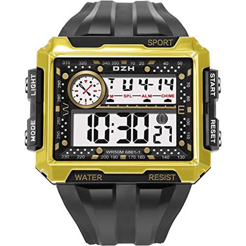 BSTQC Reloj deportivo al aire libre de los hombres luminoso impermeable reloj cuadrado pantalla digital reloj deportivo