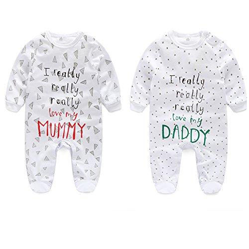 AOMOMO Unisex-Baby Newborn Footfeet Long Romper I Love Mummy I Love Daddy Bodysuit 2 Pack (3-6month)