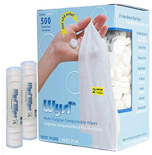 WYSI Multi-Purpose Expandable Wipes and 2 Travel Tubes, Just Add Water - 500 Compressed Tablets