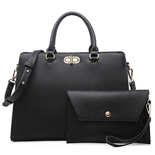 Dasein Women Satchel Handbags Shoulder Purses Top Handle Work Tote Bags with Matching Clutch 2pcs Set