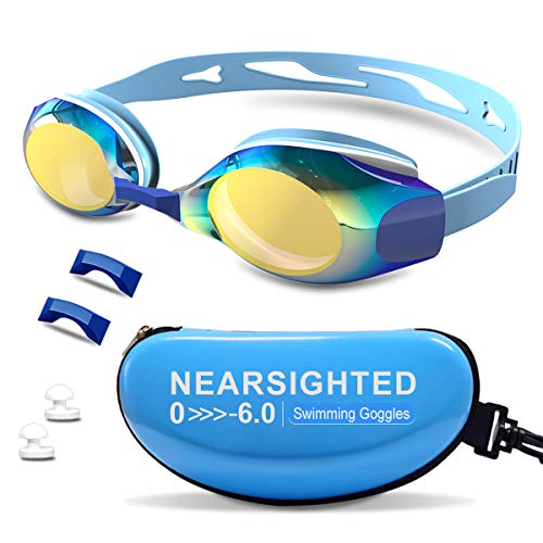 DEFUNX Prescription Swimming Goggles,Polarized Swim Goggles Leakproof Anti Fog for Men Women Kids Youth with Mirrored Lenses Nose Cover Ear Plugs Blue