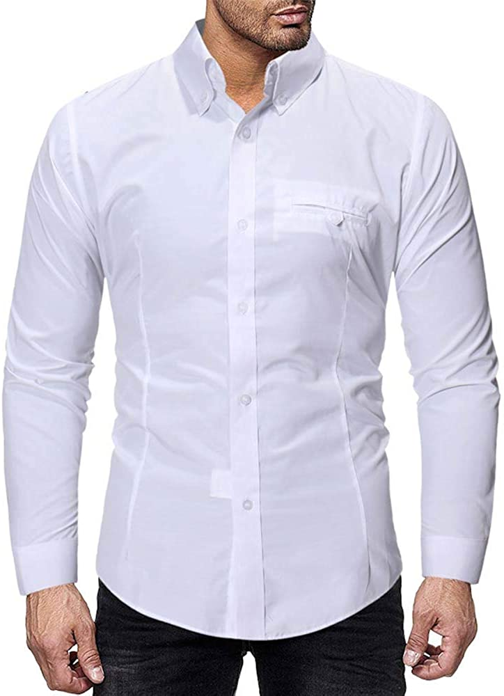 MODOQO Men's Dress Shirts Regular Fit Solid with Button Down Collar