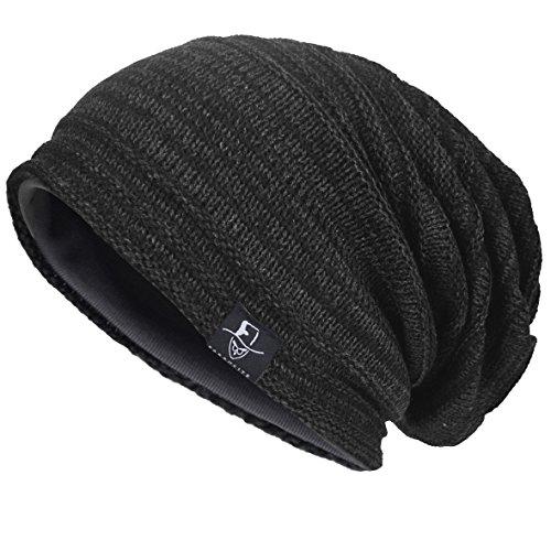 VECRY Herren Slouchy Stricken Übergroße Beanie Skull Caps Künstlerische Hüte (Grau)