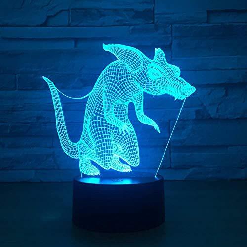 Tier Maus Illusion 3D Licht 7 Farben Touch Change Desktop Dekoration Fernbedienung Geschenk und USB-Kabel Perfektes Geschenk für Kinder