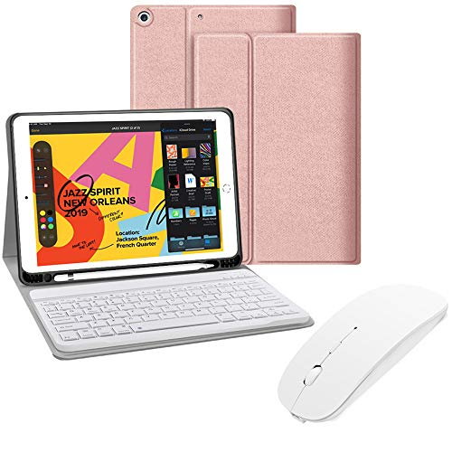 Detachable Keyboard Case with Wireless Mouse, JUQITECH Portable Smart Case with Bluetooth Rechargeable Keyboard Mouse for iPad 7th Generation 10.2 2019