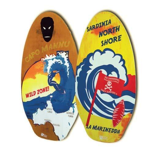 Beach Art Planche Skimboard en bois 105 cm Design Sardgna
