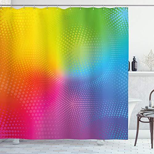 ABAKUHAUS Duschvorhang, Verschieden Neon Farben Circles Ro&s Dots Radiant zusammensetzung Schillernden Effekt Druck, Blickdicht aus Stoff inkl. 12 Ringen Umweltfre&lich Waschbar, 175 X 200 cm