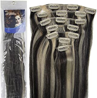 20''7pcs Fashional Clips in Remy Human Hair Extensions 24 Colors for Women Beauty Hot Sale (#1B/613-black mixed with light blonde)