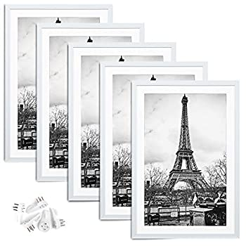 upsimples 12x18 Picture Frame Set of 5,Display Pictures 11x17 with Mat or 12x18 Without Mat,Wall Gallery Photo Frames,White