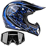 Typhoon Adult Dirt Bike Helmet & Goggles Combo ATV Motocross DOT, Blue w/Black (Small)