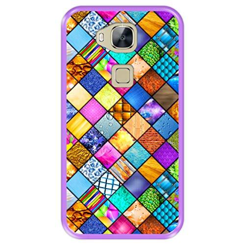 Funda Morada para [ Huawei G8 - GX8 ] diseño [ Mosaico gráfico, decoración Cuadrada con Textura ] Carcasa Silicona Flexible TPU