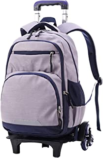 Large Capacity Removable Student Rolling Backpack(Silver/6 Wheels)