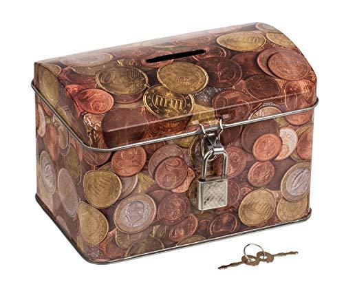 Out of the blue Spardose aus Metall mit Münzen Motiv, mit Vorhängeschloss und 2 Schlüsseln, Circa. 13 x 9 cm, bunt
