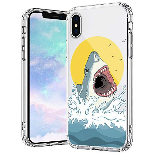 MOSNOVO iPhone X Case, iPhone Xs Case, Shark Pattern Printed Clear Design Transparent Plastic Hard Back Case with TPU Bumper Protective Case Cover for iPhone Xs iPhone X